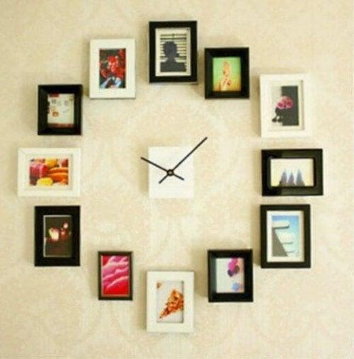 Relógio feito com fotografias
