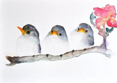 Pássaros na árvore