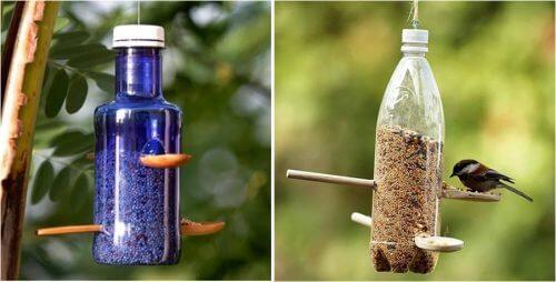 Comedouro para aves feito de garrafas plásticas