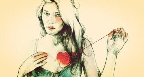 Mulher costurando coração, pois é melhor ficar só