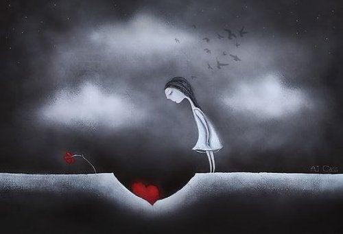 Mulher olhando para coração
