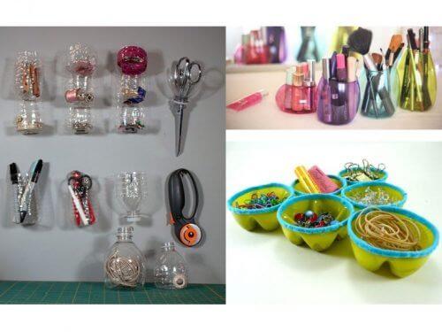 Organizador para reaproveitar garrafas plásticas