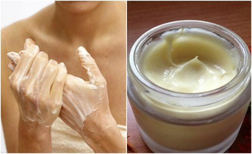Creme caseiro para hidratar as mãos com manteiga de cacau e vitamina E