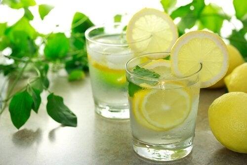 Água com limão e hortelã para reduzir a celulite