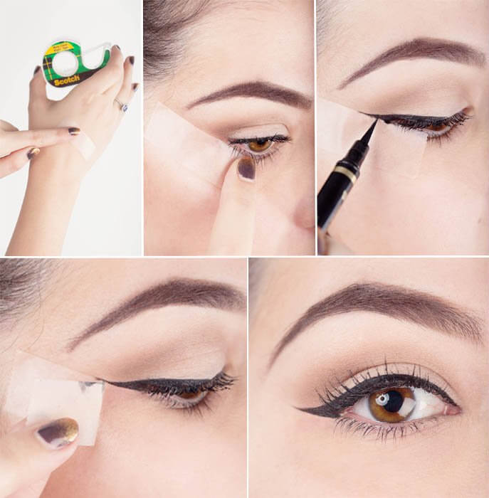 Como delinear os olhos com fita adesiva