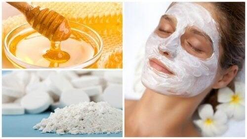 Máscara facial à base de mel e aspirina