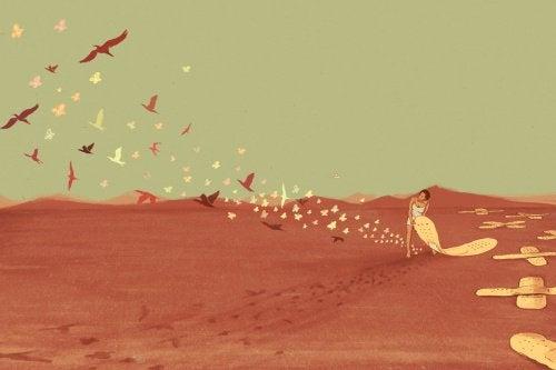 Mulher arrancando curativos e libertando pássaros