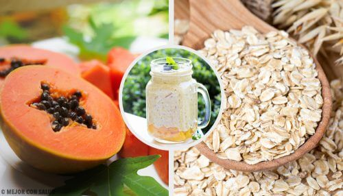 Vitamina de mamão, maçã e aveia para equilibrar o sistema digestivo