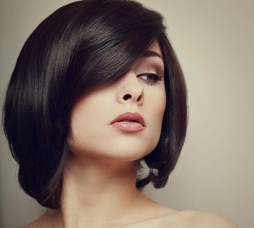 Penteado simples com franja