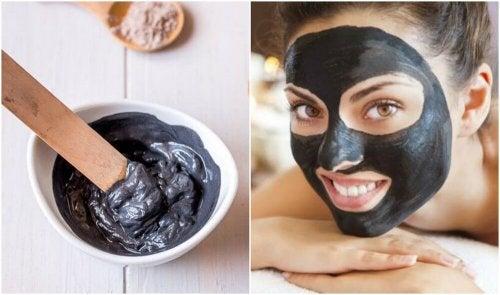 Máscara negra para eliminar os cravos e impurezas