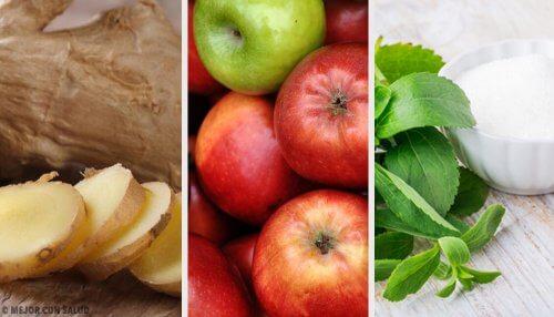 Bebida de gengibre, estévia e maçã para compensar os excessos