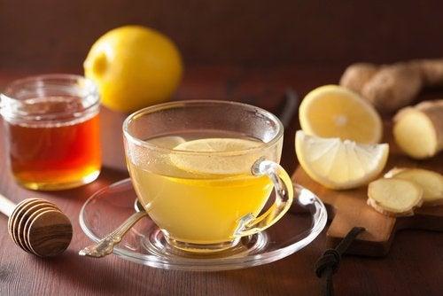 Infusão de gengibre e limão para tratar a distensão abdominal