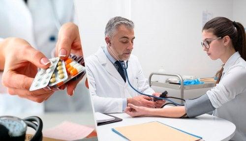 Médico medindo a pressão de paciente que tomou  medicamento que pode fazer engordar