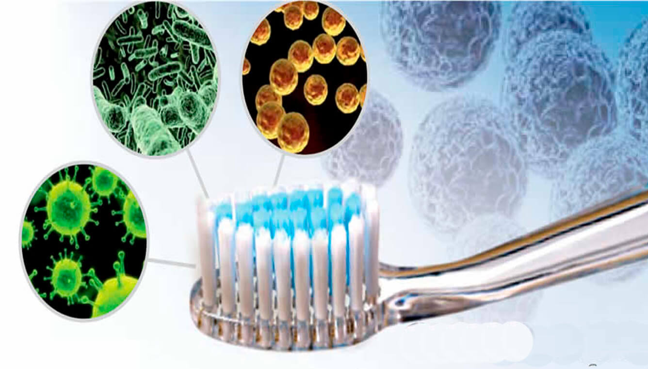 Água oxigenada desinfeta escova de dentes