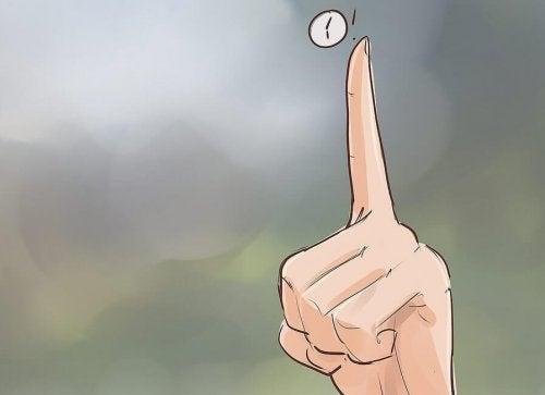 Dedo indicando tempo