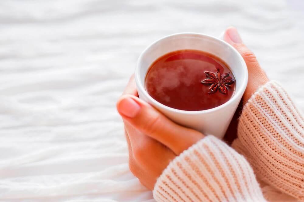 Chá de anis em um dia frio