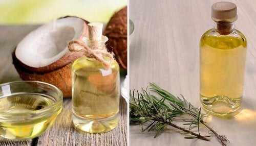 Loção nutritiva de óleo de coco, toranja e alecrim para reduzir o volume