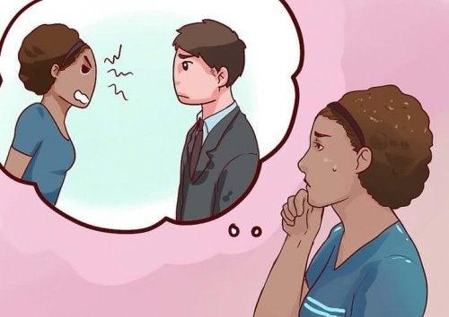 Mulher pensando em que devería ter pedido perdão