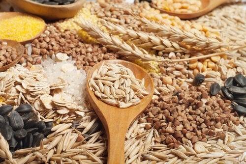 Cereais integrais e sementes