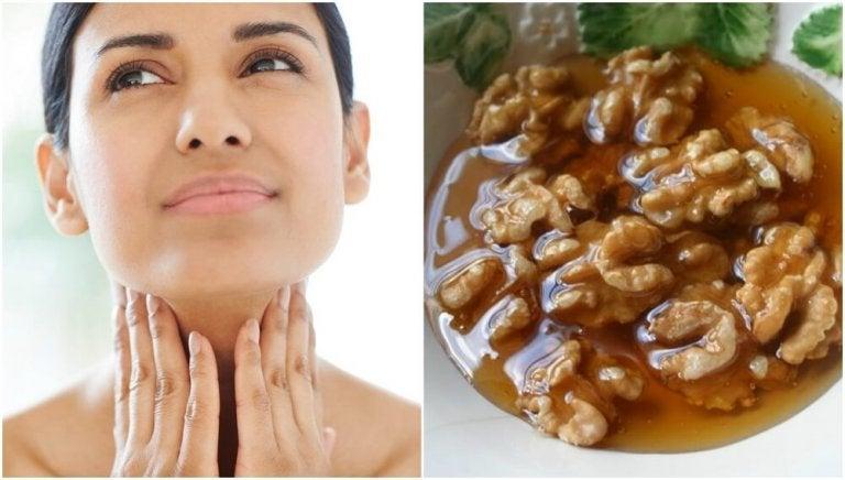 Tratamento caseiro de mel e nozes para cuidar da saúde da tireoide