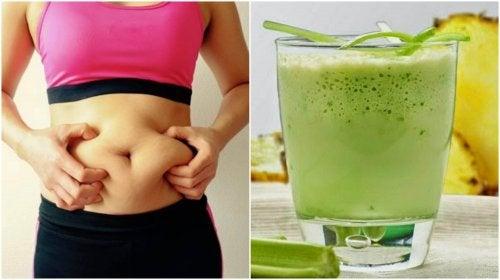 Prepare um suco de abacaxi e aipo para perder peso