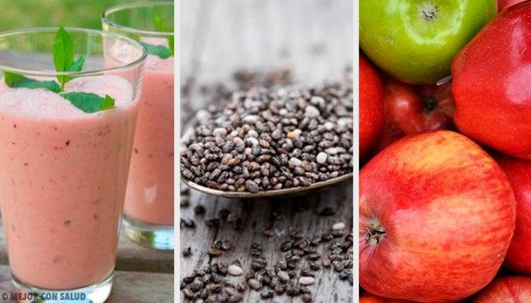 Batida de ameixa, chia e maçã para regular o intestino