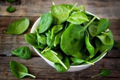 Folhas de espinafre são vegetais ricos em cálcio
