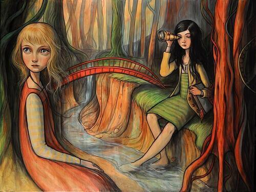 Mulheres na beira de rio