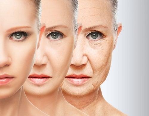 Rosto de mulher envelhecendo
