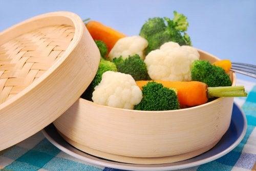 Vegetais cozidos no vapor