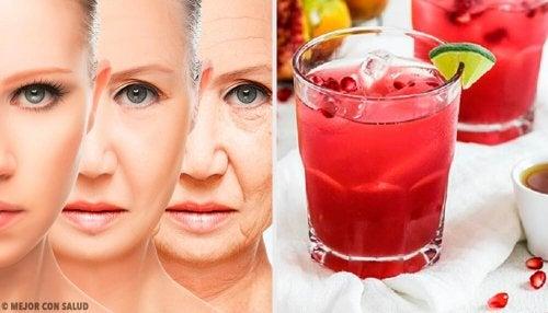 Suco antioxidante e rejuvenescedor de uva, romã e moringa