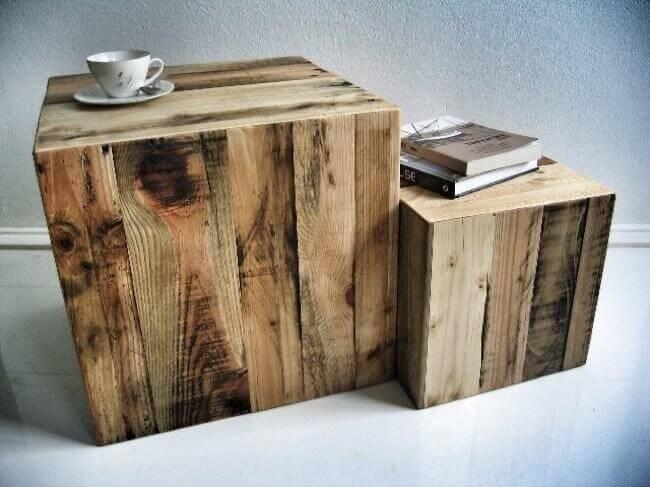 Cubos de madeira como decoração