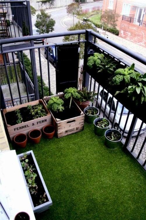 Minijardins urbanos com grama artificial