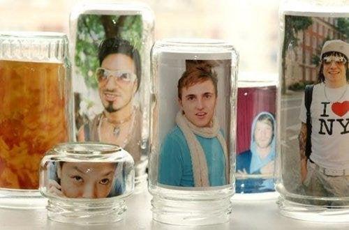 Moldura de fotos com frascos