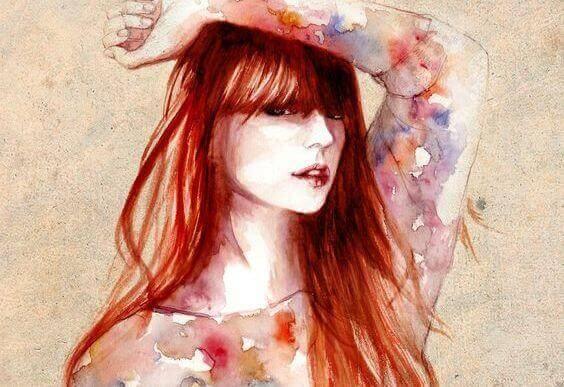 Mulher com cabelos vermelhos