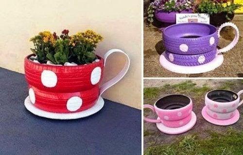Pode usar um pneu velho para fazer vasos de plantas