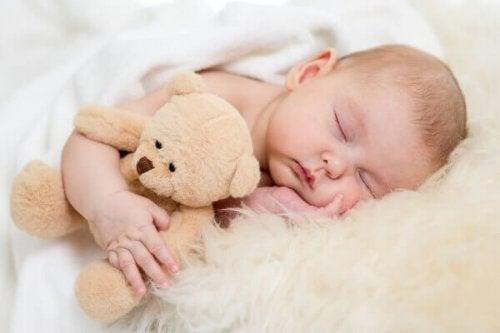 Bebê dormindo com ursinho de pelúcia