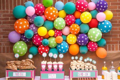 Parede decorada com balões