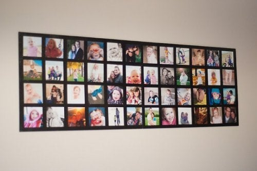 Decoração com fotos em forma de quadro