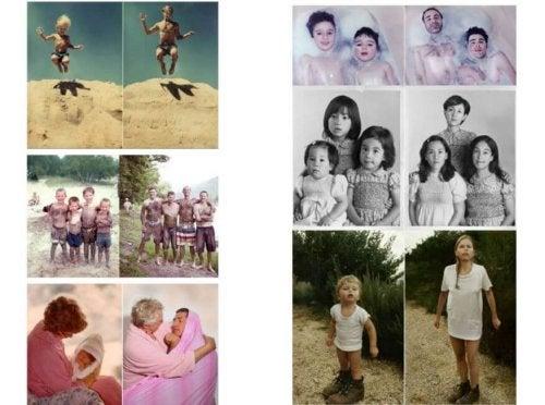 Decoração com fotos antigas e rescentes