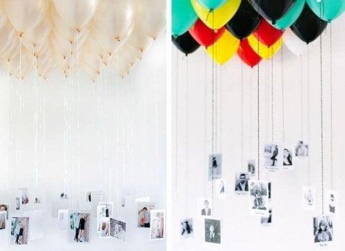 Decoração com balões e fotos