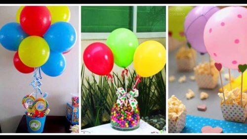 Mesa decorada com balões