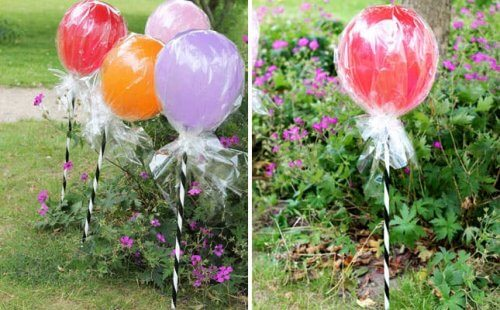 Jardim decorado com balões
