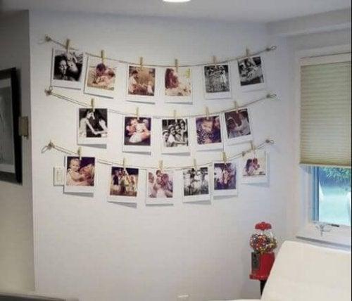 Decoração com fotos penduradas