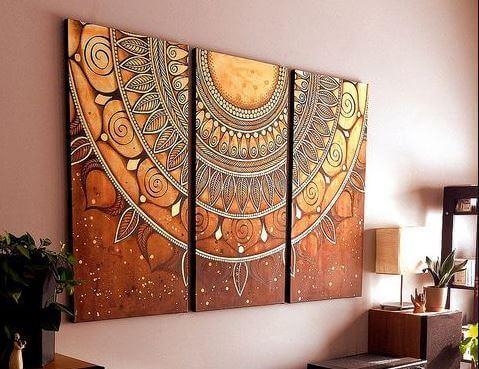 Sala de casa decorada com mandalas
