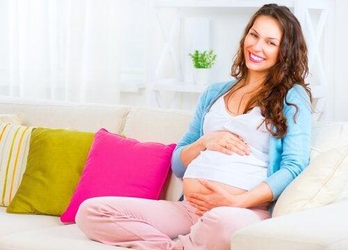 Mulher grávida sentada no sofá
