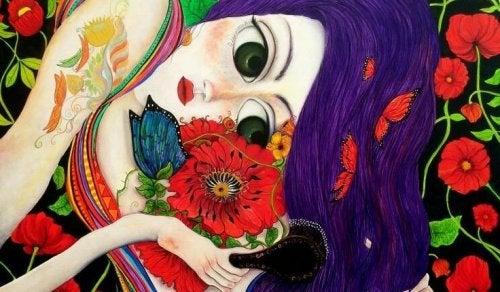 Ilustração: mulher com flores