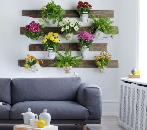 Parede decorada com plantas