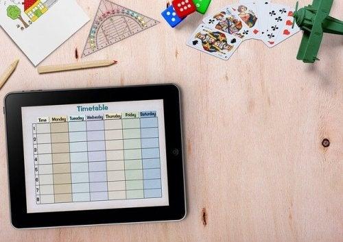 Calendário em tela de iPad