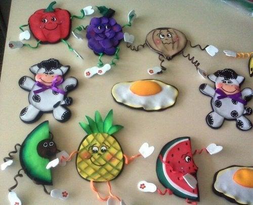 Ímãs de geladeira de frutas
